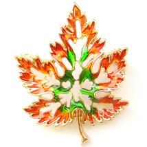 Brooch Green Orange Gold Autumn Falling Maple Leaf Hollow Lovely Elegant Pin - $8.99
