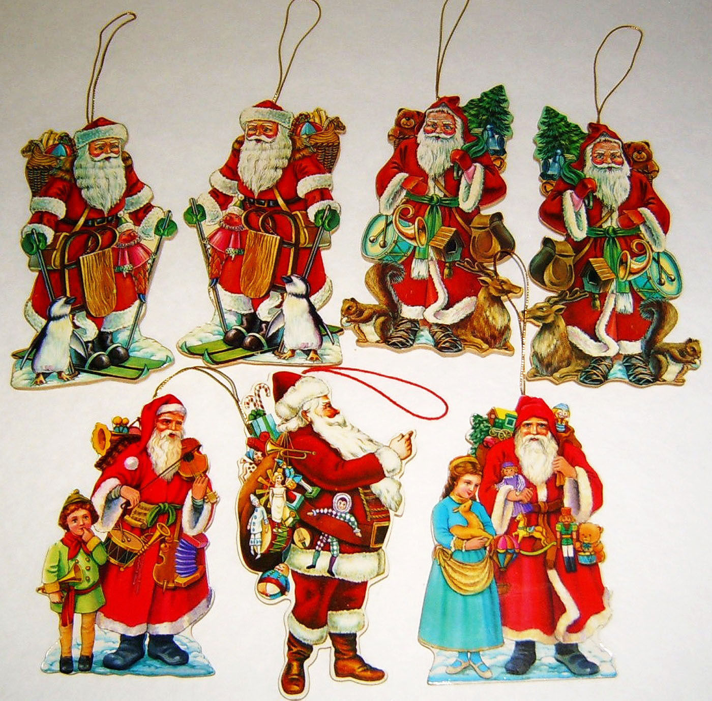 Primary image for Lot of 7 Vintage Die Cut & Wood 2-Sided Flat Santa Christmas Ornaments