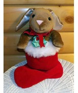 "Velveteen Rabbit Classic in Holly & Berries Bow Plush Red 21"" Holiday St... - $15.95"