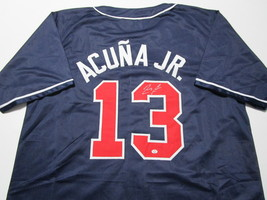 RONALD ACUNA JR / AUTOGRAPHED ATLANTA BRAVES BLUE CUSTOM BASEBALL JERSEY / COA image 1