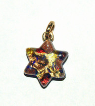 Murano Glass Star of David Judaica Pendant Gold Sparkling Venice Italy - $15.90