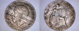1915 Great Britain Half (1/2) Penny World Coin - UK - England - George V - $5.75
