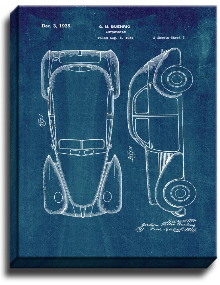 Primary image for Automobile Patent Print Midnight Blue on Canvas