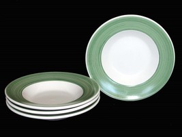 4 Pottery Barn FRENCH COUNTRY Green Streak Border Wide Rim Soup Bowls It... - $52.99