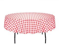Home Kitchen Tablecloth Linen Dining Textile Round 90 Polyester Red White - $25.45