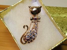 Fashion Retro Fashion Cat Rhinestone Crystal 24K Gold Plated Brooch Pin ... - $8.91