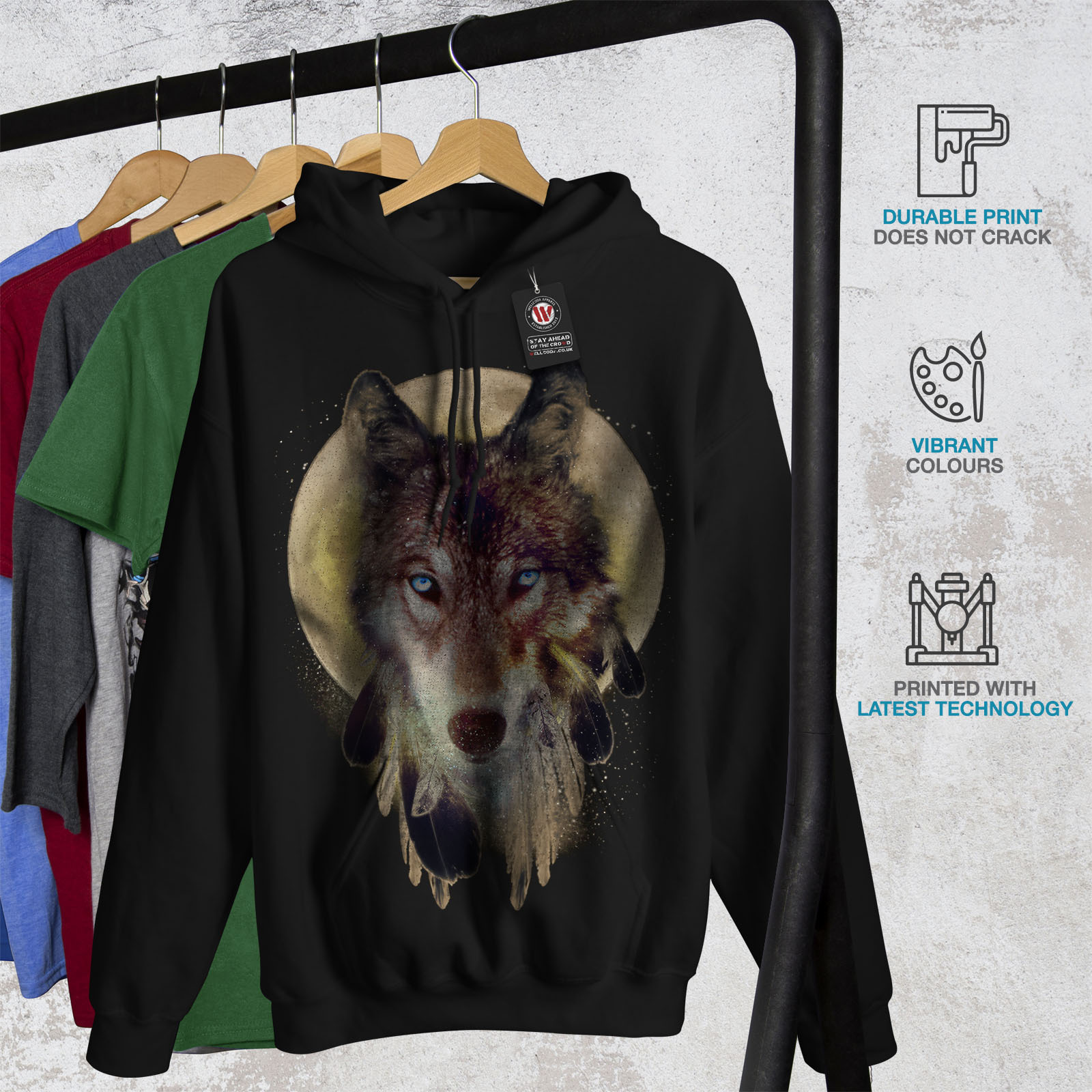 Wolf Dream Catcher Sweatshirt Hoody Wild Tribal Men Hoodie