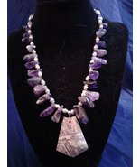 "17.5"" Handmade Amethyst and Fluorite Beaded Necklace w Charolite Pendant... - $70.00"
