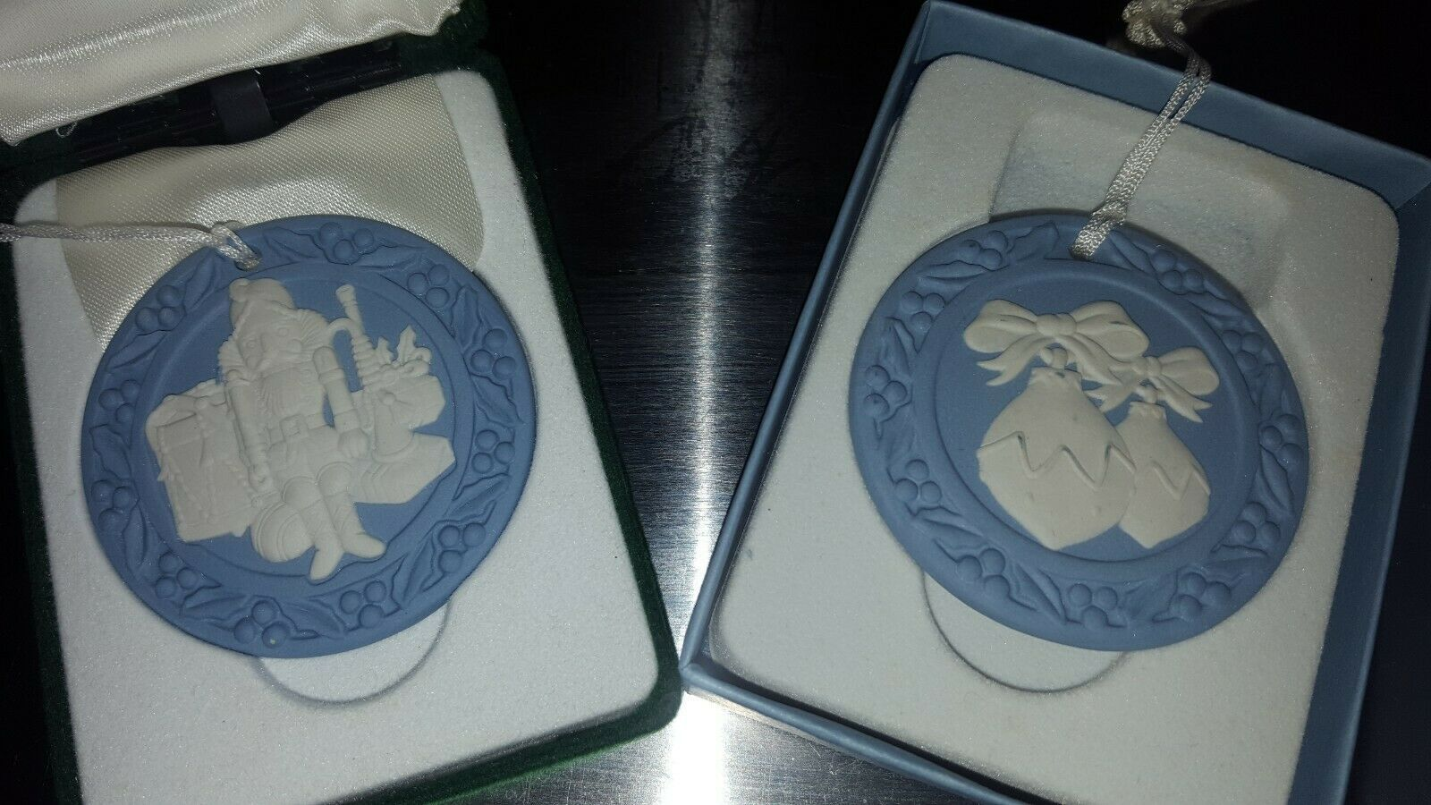 Lot of 2-Genuine Wedgwood Annual Jasperware Ornaments-U.K.-Xmas & Nutcracker