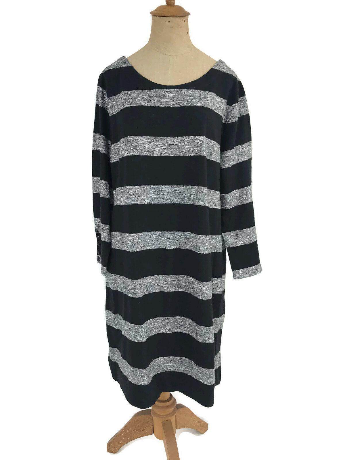 J. Crew Factory Dress Black Gray Stripe Boatneck 3/4 Sleeves Style 02665 Sz L U1