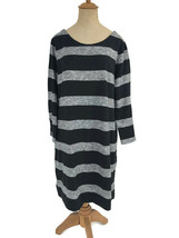 J. Crew Factory Dress Black Gray Stripe Boatneck 3/4 Sleeves Style 02665... - $30.39