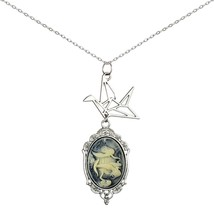 Paper Crane Necklace Origami Cameo Pendant 2 Chains Gift Jewelry (Mermaid) - $27.88