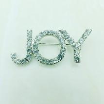 JINGLANG Fashion Brooches Pins Silver Plated White Rhinestone Letter JOY... - $24.27