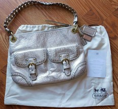 Coach Poppy Metallic Leather Whipstitch Hippie Convertible Bag 19014 Pla... - $246.99