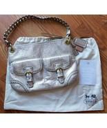 Coach Poppy Metallic Leather Whipstitch Hippie Convertible Bag 19014 Pla... - $246.99