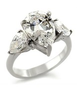 Teardrop Cut Clear CZ Engagement Ring April Birthstone .925 Sterling Silver - $26.00