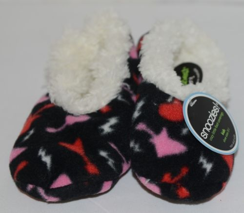 Snoozies 200199P Foot Coverings Guitars Black White Pink Red Kids 13 And 1