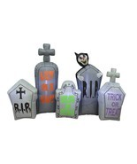 7 Foot Long Halloween Inflatable Tombstones Pathway Reaper Scene Yard De... - $86.00