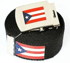 "Canvas Military ""Puerto Rico"" Red White Blue Stripes Web Belt&Match Belt... - $19.79"