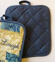 INSPIRATIONS KITCHEN SET 7-pc Towels Potholders Mitt Love Laugh Dream Blue Beige image 8
