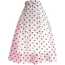 White Polka Dot Modi Skirt Outfit Summer High Waisted Plus Size Long Party Skirt image 4