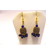 ETHNIC EXOTIC MADE IN INDIA BRASS GOLD NAVY BLUE BEADED DESIGN PIERCED E... - $10.88