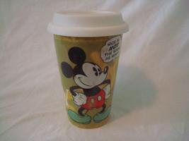 Disney Travel Mug Double Wall Ceramic Porcelain Glass Silicone Lid Micke... - £4.53 GBP