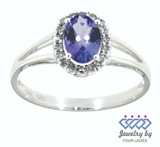 Real Diamond Halo Ring Jewelry 14K White Gold 0.79 Carat Tanzanite Birth... - $1,020.00