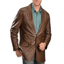 Classic Style Notch Collar Men Leather Blazer