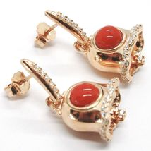 Silver Earrings 925, Little Bell, Bell with Zircon, Coral, Hanging image 3