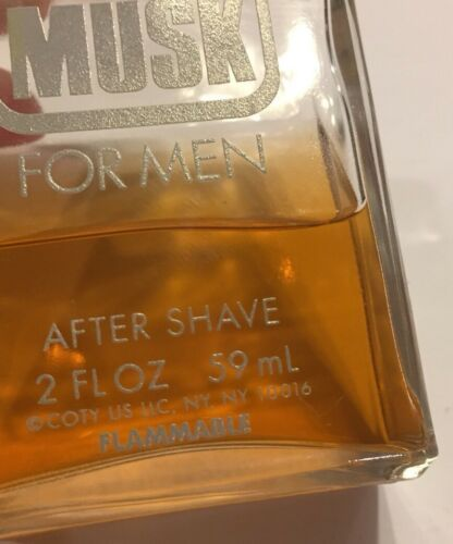 Vtg Coty Musk For Men After Shave 2 Oz Bottle 50% Full 59 mL Splash