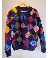 Vintage WOMEN'S QUILTED ZIP UP JACKET LARGE Blue w/ Assorted Pattern Squ... - $20.29