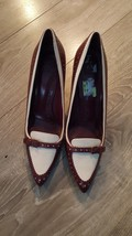 Tory Burch Pointed Toe Pumps Red/White Shoes Size 10STORE DISPLAY - $188.09