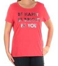 Tommy Hilfiger Womens Be Happy Metallic Graphic T-Shirt Chili XXL 4145-3 - $18.50