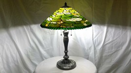 Vintage Estate Find Unused Stained Glass Shade on Detailed Metal Base Lamp - $312.55