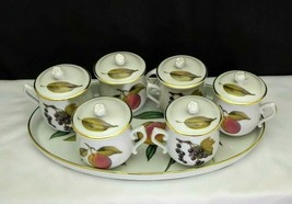 Set of 6 Royal Worcester Evesham Gold Pots de Creme with Oval Tray - $54.95