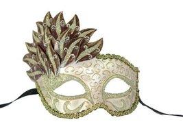 Beautiful Venetian Mask Mardi Gras Cascade red/gold - $12.78