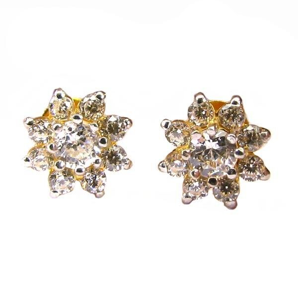Charming CZ Studded EAR Studs PAIR 14k Solid Real Gold Screw Back - $165.30