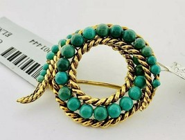 Turquoise Spiral Brooch in 18k Yellow Gold Circa 1960 Italy  - $989.99