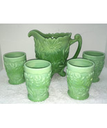 Fenton Limited Edition Founders Jadeite Green Glass Floral Water Set - $425.00