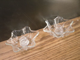 Taper 6 point Star Glass Candle Holder - Lot of 2 - $12.25