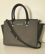 MICHAEL KORS Selma Gray Black Colorblock Saffiano Leather LARGE Top Zip ... - $149.99