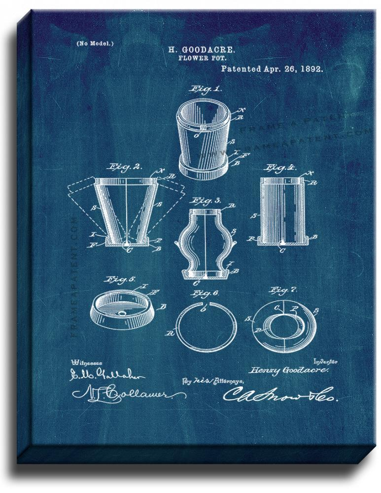 Primary image for Flower Pot Patent Print Midnight Blue on Canvas