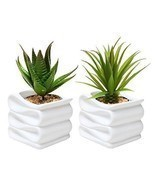 Office Ceramic Plant Pot Set Small Flower Planter Home Modern Garden Her... - $29.02 CAD