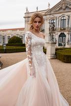 Luxury One Shoulder Mermaid Wedding Dress Detachable Train Long Sleeves Lace App image 3