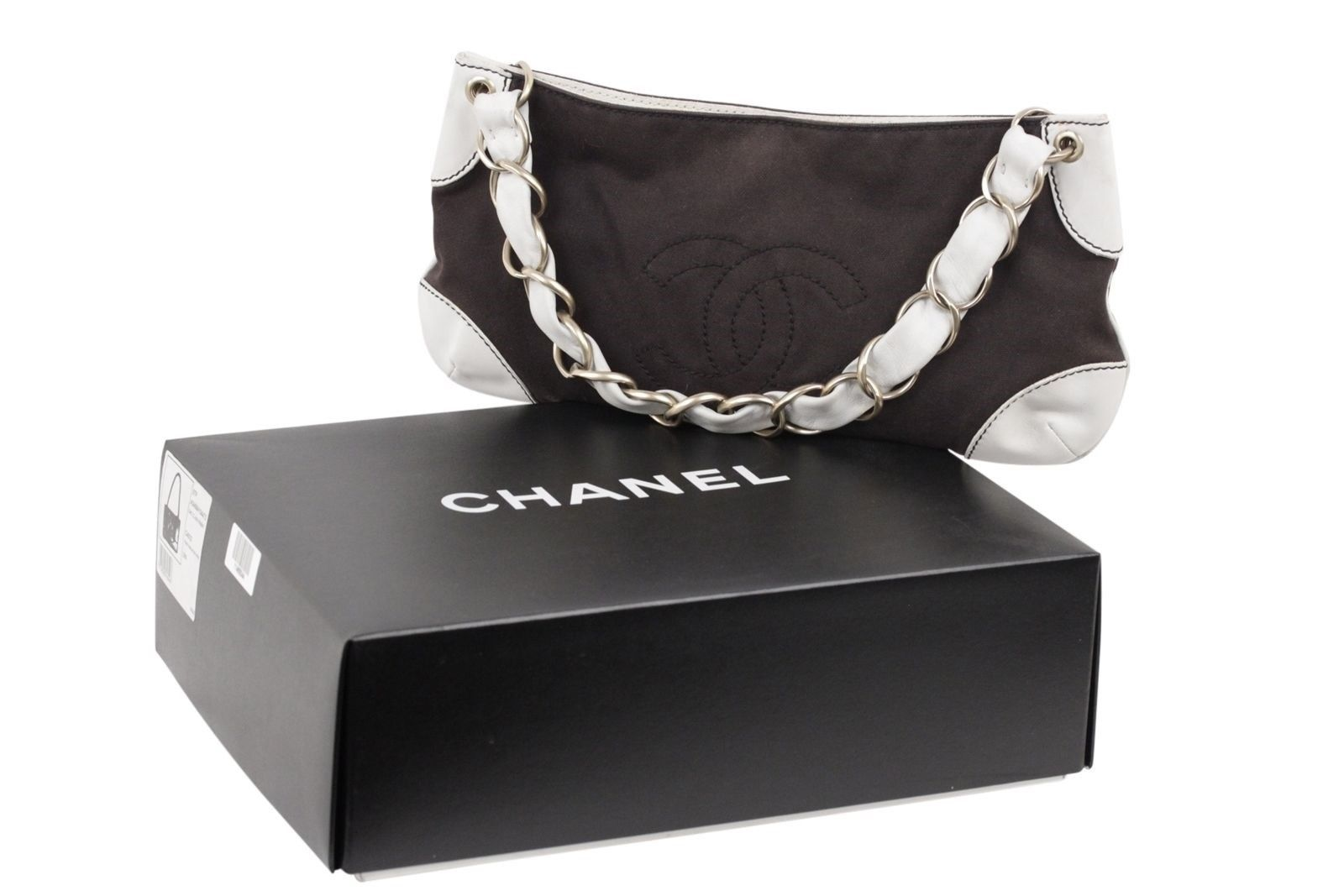 b298cb9dc127 S l1600. S l1600. Previous. Authentic CHANEL Brown Canvas & White Leather  SHOULDER BAG Purse TOTE w/CC LOGO