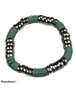 Green & Silver Tone Beaded Stretch Bracelet Boho Festival Bohemian Jewelry - $14.99