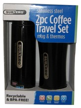 NEW Subzero Stainless Steel 2 Pc Coffee Travel Set Mug & Thermos Cup, Black - $12.86