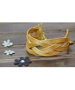 Wide Golden Cuff Bracelet, Braided Golden Grass Bracelet, Handmade, Nick... - $25.60