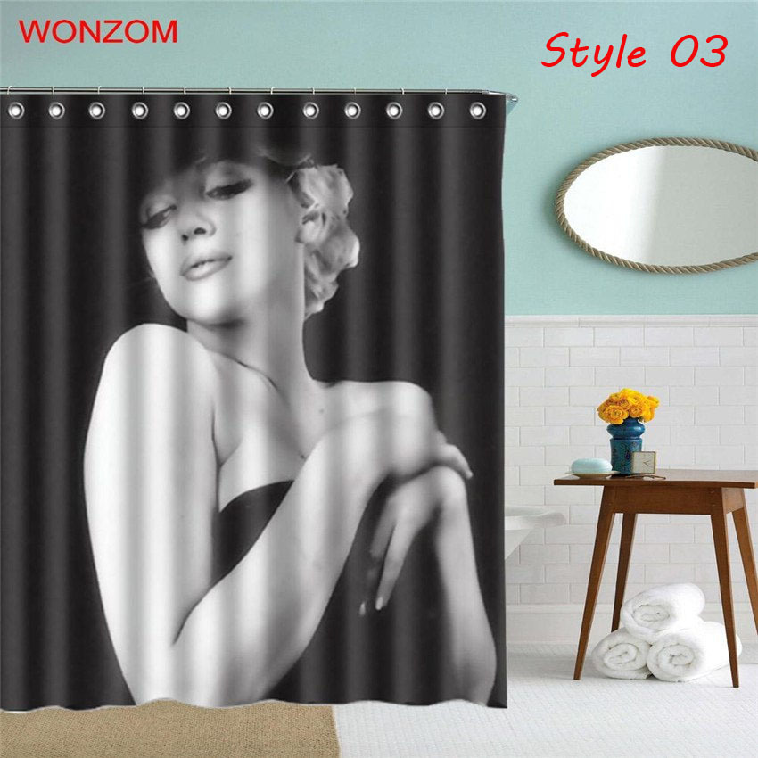 WONZOM 1Pcs Marilyn Monroe Waterproof Shower Curtain Girl Bathroom Decor Belle D